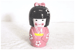 Kokeshi Doll Money Box, Pink, 17cm