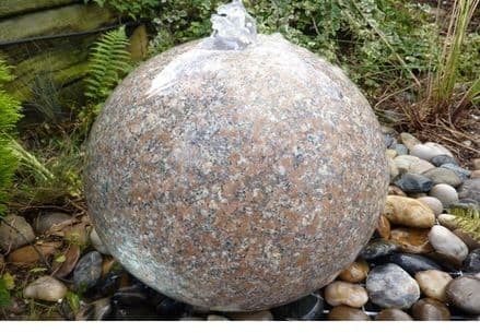 400 mm Polished Pink Granite Sphere Water Feature KIT