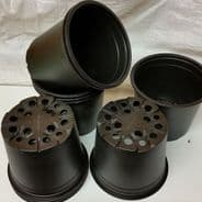 13cm - 1 lire capacity plastic pots - Black - 10 pots - Bulk Discounts available