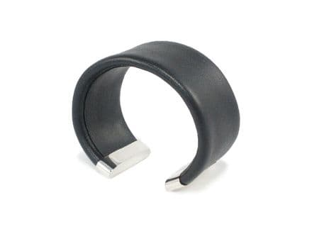 Black Leather Silver Cuff Bracelet-Small