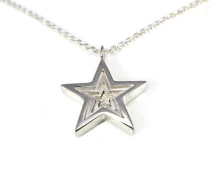 Sterling Silver 3D Star Pendant with Necklace
