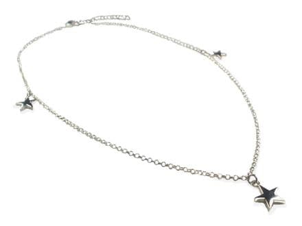 Sterling Silver Solid 3 Star Necklace