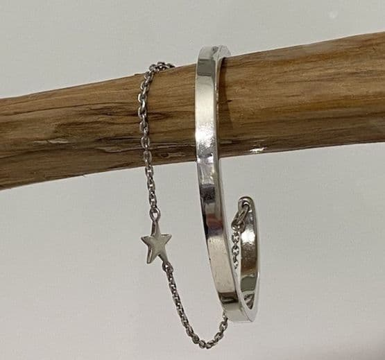Sterling Silver Torque Bangle with Star Charm Bracelet