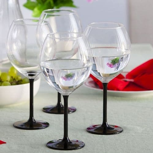 4 Black Stem Glasses 700ml