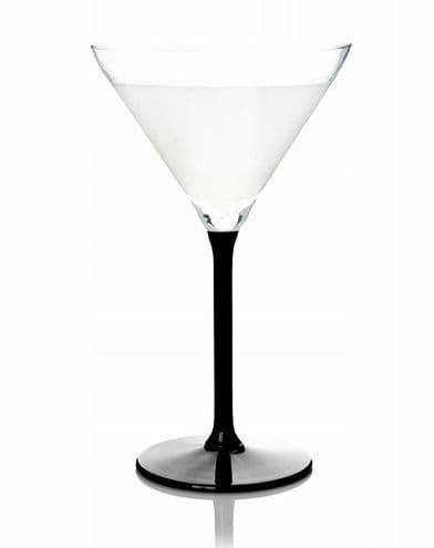 6 Martini Glasses 260ml Black Stem