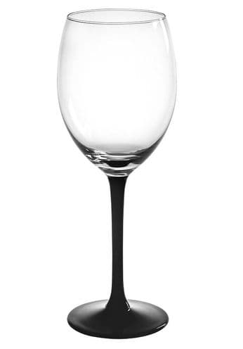 6 Wine Glasses 330ml Black Stem