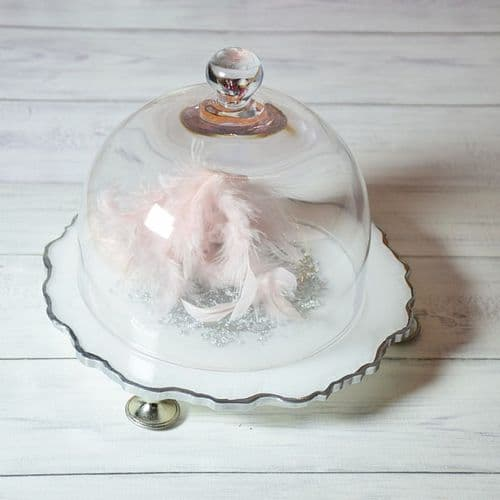Glass Bell Dome & Resin Coaster Set Snow White