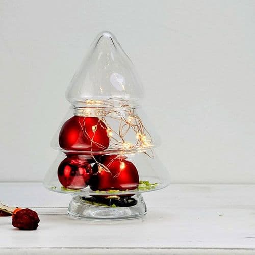 Glass Christmas Tree Jar 21cm