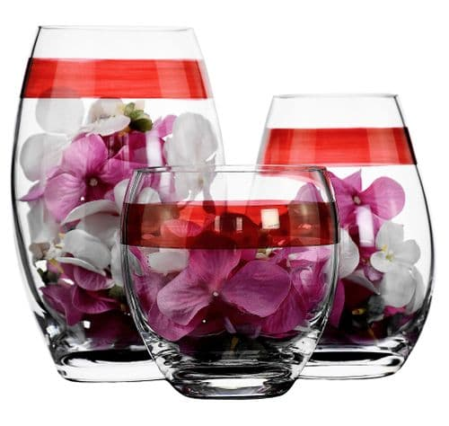 Glass Drop Vase Set of 3 Red Stripe – Christmas Gift Ideas by Solavia