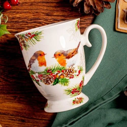 Luxury Porcelain Winter Robins Mug 250ml