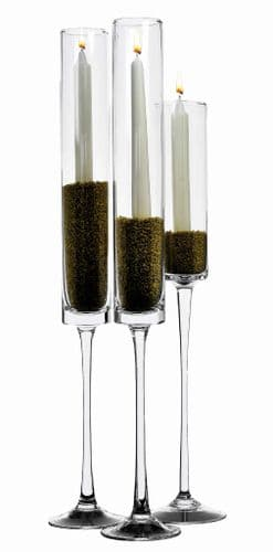 Tall Glass Cylinder Candlestick Holder Set of 3    – Elegant Giftware by Solavia