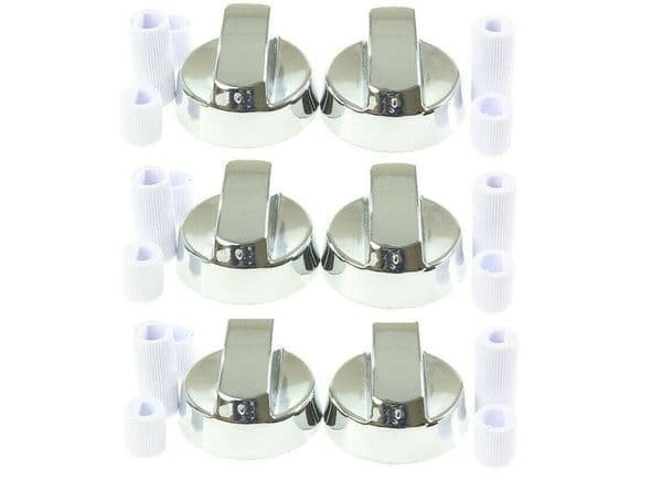6x SILVER COOKER OVEN HOB CONTROL KNOB & ADAPTORS FOR BELLING NEW WORLD STOVES