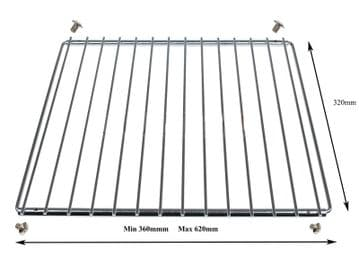ADJUSTABLE UNIVERAL EXTENDIBLE OVEN COOKER CHROME SHELF WITH FIXING SCREWS.