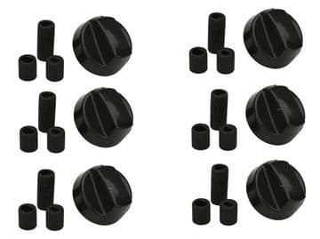 BLACK COOKER OVEN HOB CONTROL KNOB & ADAPTORS FOR BELLING NEW WORLD STOVES x 6
