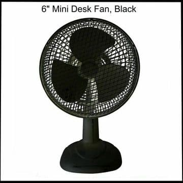 """PRO-ELEC BLACK 6"""" INCH DESK TOP FAN COMPACT WITH 3 BLADES RADIAL GRILL 2 SPEED"""