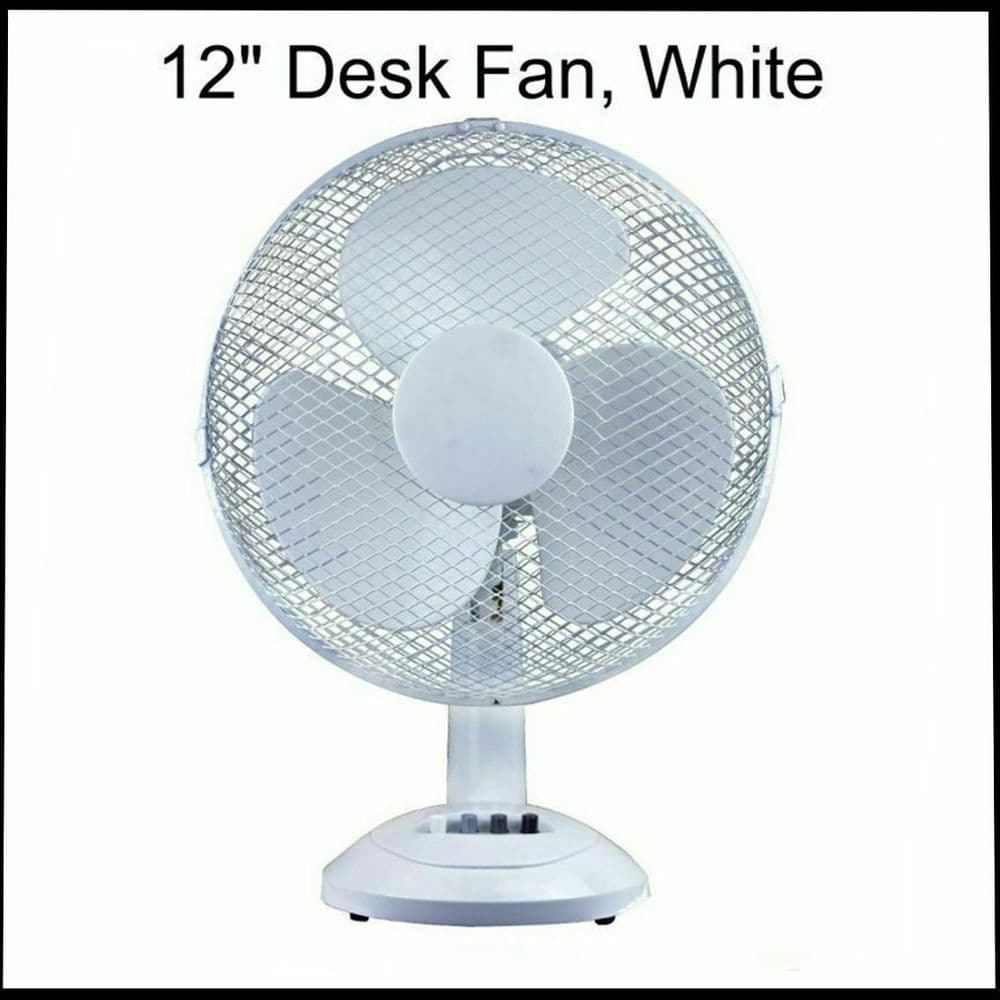"""PRO-ELEC WHITE 12"""" INCH DESK OSCILLATING TOP WITH 3 BLADES RADIAL GRILL 3 SPEED"""