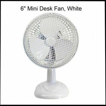 """PRO-ELEC WHITE 6"""" INCH DESK TOP FAN COMPACT WITH 3 BLADES RADIAL GRILL 2 SPEED"""
