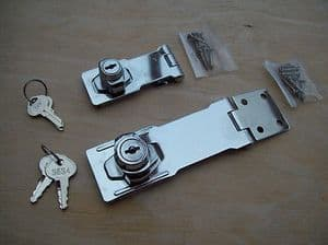 2 SIZES CHROME SELF LOCKING HASP LOCK FOR VANS SHED GATES ETC