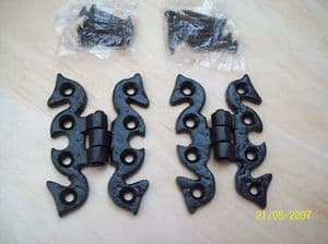 2 X Decorative Black Cabinet / Butterfly  Hinges 70mm