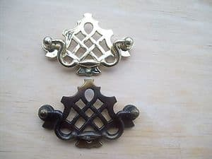 ANTIQUE BRASS FANCY ORNATE DRAWER CUPBOARD CABINET LATTICE RING PULL HANDLES