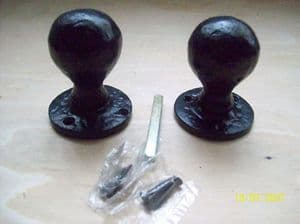 Black Antique Cast  Iron Mortice Rim Heavy  Door Knobs
