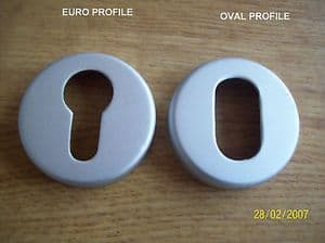 EURO/OVAL ESCUTCHEON KEYHOLE COVERS 50 x 12mm Aluminium