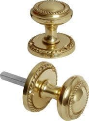 Solid Brass Georgian Round Mortice Door Knobs Pull Handles Set