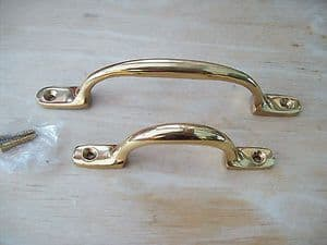 SOLID BRASS WINDOW CUPBOARD DRAWER BOW D SASH PULL LIFT VICTORIAN HANDLES