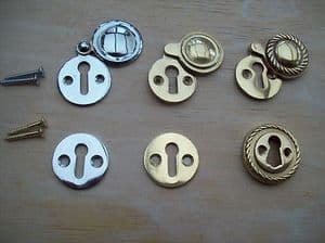 VICTORIAN GEORGIAN STYLE KEYHOLE KEY HOLE COVERS ESCUTCHEON OPEN AND COVERED