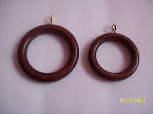 WALNUT WOOD WOODEN CURTAIN POLE ROD RINGS 28/35MM POLE