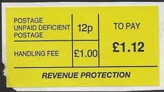 £1.12 ' TO PAY'  'DEFICIENT'  LABEL
