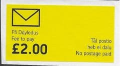 £2.00 WELSH  'FEE TO PAY- NO POSTAGE PAID'  USED LABEL