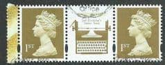 2007 PAIR OF  1ST 'GOLD' MACHIN (+ CENTRE LABEL) (EX BKLT PANE)   FINE USED