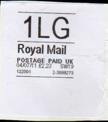04/07/11 '1LG' ROYAL MAIL HORIZON LABEL ( LATE USE BEFORE VAT CODES ADDED)