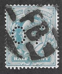 1902 1/2d 'BLUE GREEN' (PERFIN 'O.F') FINE USED
