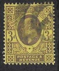 1902 3d 'DULL PURPLE/ ORANGE YELLOW' FINE USED