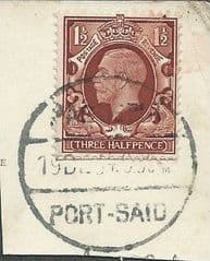 1934 1.5d 'RED BROWN' (POSTED ABROAD- PORT SAID) (FULL PMK) FINE USED