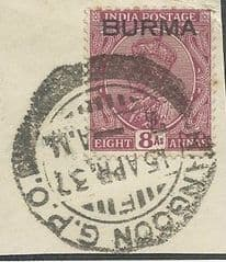 1937 8as 'INDIA (OVPT BURMA) RANGOON POSTMARKED FINE USED*