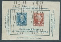 1947 '100TH ANN OF U.S STAMPS' M/S FINE USED*