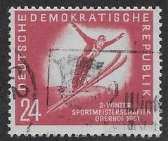 1951 24pf  ' EAST GERMANY - SKIING' FINE USED*