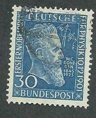 1953 30pf 'NOBEL PRIZE - ROENTGEN' FINE USED