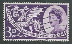 1958 3d 'BRITISH EMPIRE AND COMMONWEALTH GAMES' FINE USED