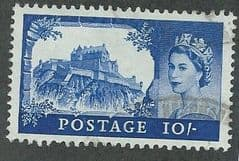 1959 10/- 'CASTLES- ULTRAMARINE' (B.W PRINTING)  FINE USED    (MULTI CROWN  WATERMARK)