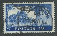 1959 10/- 'CASTLES- ULTRAMARINE'  FINE USED (MULTI CROWN  WATERMARK)