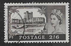 1959 2/6d 'CASTLES- BROWN'    FINE USED (MULTI CROWN  WATERMARK)
