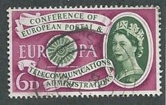 1960 6d  'EUROPEAN POSTAL AND TELECOMMUNICATIONS CONGRESS'  FINE USED