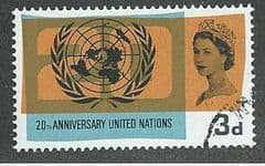 1965 3d '20TH ANN OF UNITED NATIONS'  (ORD)   FINE USED