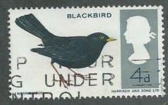 1966 4d 'BRITISH BIRDS-BLACKBIRD' (ORD) FINE USED