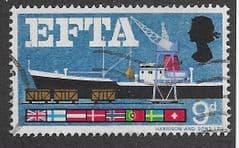 1966 9d 'EFTA' (ORDINARY) FINE USED