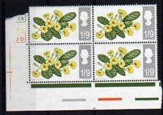 1967 L/M/M BLOCK OF 4 X 1/9d 'FLOWERS'
